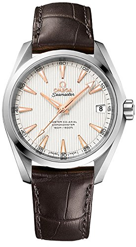 Omega Aqua Terra 150m Master Co-Axial Silver Dial Brown Leather Mens Watch