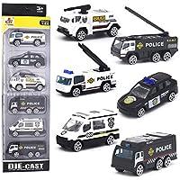DESONG Coche de Policia Mini Modelo Construcción Vehículo de Juguete para Niños 3 4 5 años ,Conjunto de 6