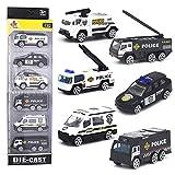 DESONG Spielzeugautos Polizeiauto Polizeiwagen Fahrzeuge Spielzeug Set Mini Cars für Kinder ab 3 Jahren,6 Pcs