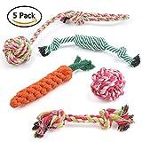 BUYGOO Chien à mâcher Jouets de dentition jouet pour chien Corde Jouets Chiot Coton Pecute durable pour chiens de petite et moyenne taille–Lot de 5ensemble cadeau