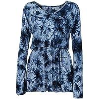 CUTUDE Lange Ärmel T Shirt Damen Bluse Mode V Ausschnitt Tie Dye Drucken Gefaltete Taille Weiß Blau Grau Grün Rot Top