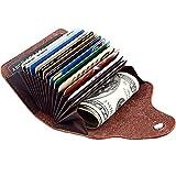 Titular de la tarjeta de crédito Cartera de cuero genuino para hombres Mujeres - 13 ranuras para...