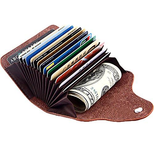 ALAIX donna Porta carte di credito Portafoglio in vera pelle per uomo donna - 13 slot per schede Nero