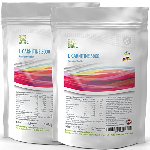 L-Carnitin-3000 1000 Tabletten Vegan | Fatbuner – Bulk Pack XL | Slimming Diät + Definition | hergestellt in Deutschland