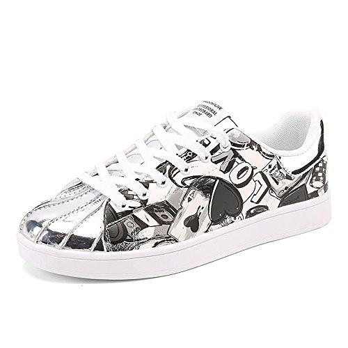 Scarpe da Ginnastica Sneaker di Moda Britannica da Donna e da Uomo, con Tacco Piatto, in Pizzo, con Paio di Scarpe Fino alla Taglia 46 Scarpe Sportive (Color : Nero, Dimensione : 43 EU)