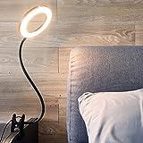 Depuley Lamp LED,Lampe de Bureau ,USB Lampe Pince(Adapteur Non -Incluse), Réglable/Flexible, 3 Mode de Lumière,Métal Noir,Des