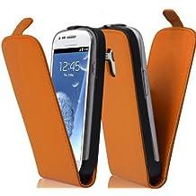 Cadorabo - Funda Flip Style para Samsung Galaxy S3 MINI (I8190) de Cuero Sintético Liso - Etui Case Cover Carcasa Caja Protección en NARANJA