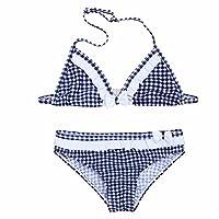 FEESHOW Kids Girls Plaid Bowknot Bikini Tankini Set Halter Tops with Bottoms Swimsuit Blue 12-14 Years