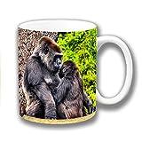 süß Silberrücken Gorilla mit jungen Keramik Kaffee Tasse Weihnachtsgeschenk Strumpf Füller