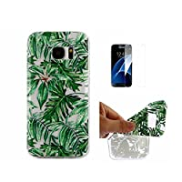 For Galaxy S7 Case [With Tempered Glass Screen Protector],Fatcatparadise(TM) Anti Scratch Transparent Soft Silicone Cover Case ,Colorful Cute Pattern Ultra Slim Flexible Non-Slip Design TPU Protective [Crystal Clear] Shell Bumper Case Prefect Fit For Sams