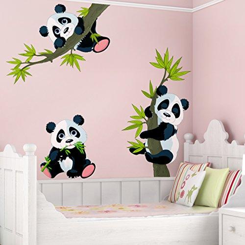 Preisvergleich Produktbild Wandtattoo Pandabären Set Wandtatoo Wandsticker Kinderzimmer Bär Illustration, Größe: 53cm x 80cm
