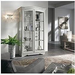 Estantería despensa vitrina madera maciza Country diseño lacado blanco-como fotos blanco y marfil