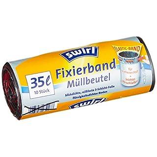 Swirl Fixierband-Müllbeutel, 35 Liter, 4 Rollen mit je 10 Beuteln, Anthrazit