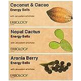 Spuntino Energetico Bio con Topinambur (12 x 40 g) Sapori: Cocco e Cacao, Nopal e Aronia - Crudo - Vegano - Senza glutine - Prebiotico - Inulina