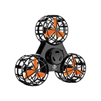 Bonitronic Flying Fidget Spinner, Anti-Anxiety ADHD Relieving Reducer Interactive Fidget Rotation Triangle Toys Funny Drone Interactive Games for Kids Adults, Black- 1 Years Warrenty (Black)