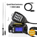 Radioddity DB25 Pro PMR Dual Band Quad-standby Mini Mobile Auto LKW Radio, VHF UHF 4 Farbe Display, 25W Fahrzeug Transceiver mit Kabel & CD + 50W High Gain Quad Band Antenne