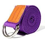 voidbiov D-Ring Adjustable Yoga Belt Adjustable Buckle Cotton Strap Perfect for Pilates Stretching Holding Poses Improing Flexibility(Dark Purple)
