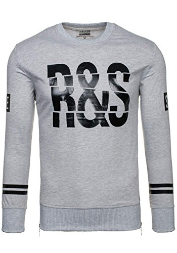 BOLF Herren Pullover Sweatshirts Langarm Pulli ohne Kapuze MIX Grau_2099