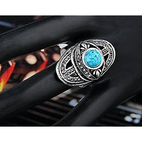 Ecloud Shop® Anillo ajustable de la manera en forma de ojo de plata tibetano de la turquesa azul del Rhinestone