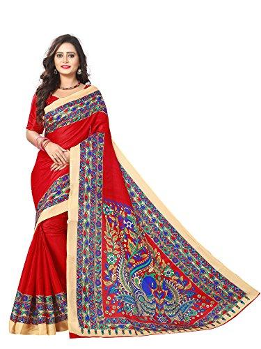 Indian Beauty Women's Kalamkari Khadi Silk Saree With Blouse (RED)