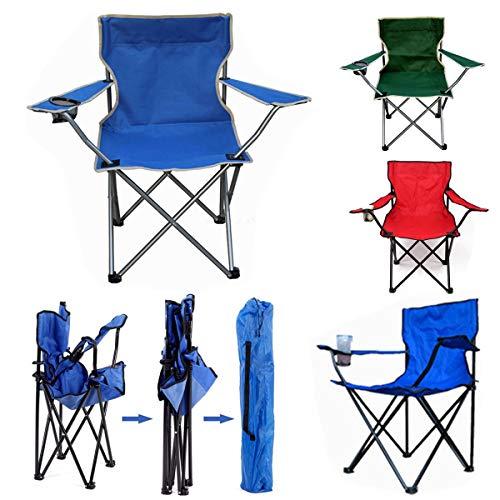 ShopSquare64 Portable Klappstuhl Outdoor Angeln Camping Strand Picknick Stuhl Sitz Mit Getränkehalter Portable Angeln Gps