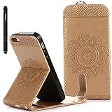 Slynmax Coque pour iPhone 5/5S/SE, Flip Clapet 2 en 1 Housse Protecteur en Cuir PU TPU Silicone Étui Portable Dragonne Support et Carte de Crédit Slot pour iPhone 5/5S/SE Couverture Mandala Or