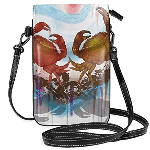 Women Small Cell Phone Purse Crossbody,Sea Animals Theme Two Crabs Dancing On The Abstract Grunge Background Print -