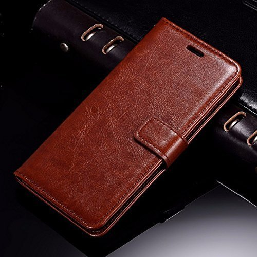 Thinkzy Good Quality Artificial Leather Flip Cover Case for Samsung Galaxy On7 Pro(Brown)
