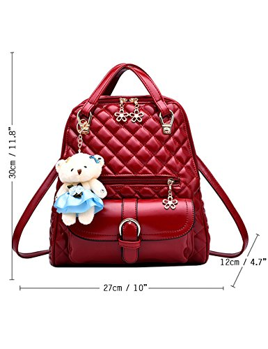 Menschwear PU Zaino Satchel Daypack sacchetto di scuola Diamante Blu Vino Rosso