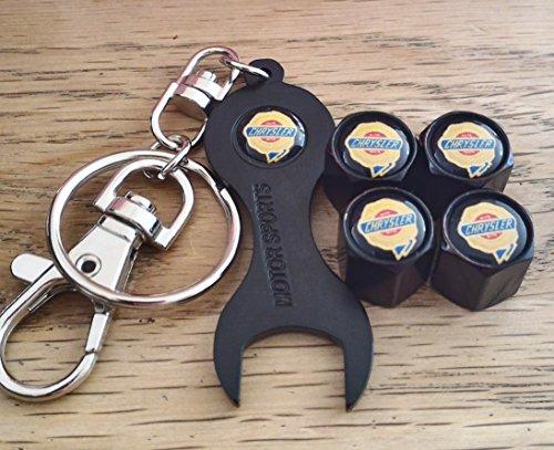 CHRYSLER WEIßE OBERE SCHWARZE Rad Ventil Staubkappen ventilkappen UND SCHLÜSSEL SCHLÜSSELANHÄNGER EXKLUSIV VON US-300C GRAND VOYAGER DELTA DELTA CROSSFIRE PT CRUISER (Pt Cruiser Schlüssel)