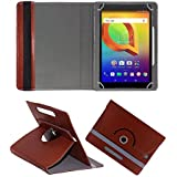 Fastway Rotating 360° Leather Flip Case Cover For Alcatel A3 10 (VOLTE) 16 GB 10.1 Inch With Wi-Fi+4G Tablet Brown