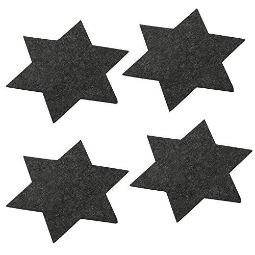 Oblique-Unique® Feutre Lot de 4 Dessous-de-Verre en kit étoiles dans Gris - Grande außführung Ø 35 cm dans Le Pack de 4 pour Table et déco