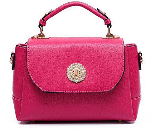 Xinmaoyuan Borse donna primavera colore puro Cross-Grain lato piccolo pacchetto pelle Pu semplice borsa a tracolla,Nero Rosso
