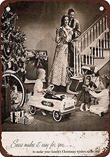 mefoll Retro Wall Decor 1956 Sears for Christmas Metal Tin Wall Plaque 8x12 Bar Pub Sign by -