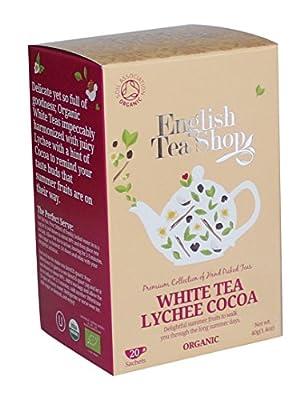 English Tea Shop Thé blanc Litchi Cacao Thé biologique/blanc avec litchi et thé de première qualité Collection de thé de cacao cueillie à la main par le Sri Lanka - 1 x 20 sachets (40 grammes)