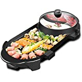SEAAN Electric Hot Pot And BBQ Grill, 2000W Multifunctional Smokeless BBQ Hot Pot Integrated Kitchen Pot Large Capacity Famil