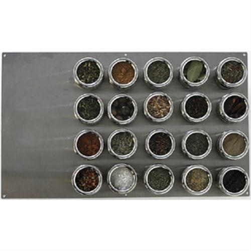 Soho Spices Gewürzdosen-Set mit magnetischer Edelstahlplatte 6,6 x 57 x 34,5 cm, 20-teilig