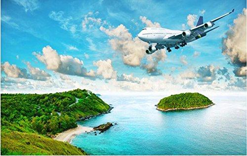 Kundenspezifische Fototapete 3D, Moderner Seeansicht Insel-Regenwald, Wohnzimmer-Sofa Fernsehhintergrund-400cmx280cm