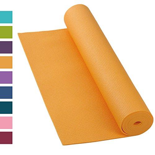 Yogamatte ASANA MAT, 183 x 60cm, 4mm PVC mit ÖKO-TEX 100, gute Yoga-Matte nicht nur für Anfänger, Sticky Mat, Gymnastikmatte, phtalatfrei, schadstofffrei (safran-gelb)