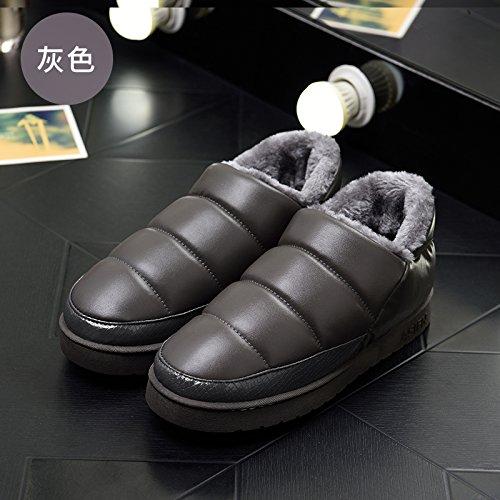DogHaccd pantofole,Le coppie pelle pu cotone impermeabile pantofole uomini e high-pack con un soggiorno invernale indoor, caldo scarpe eleganti Grigio1