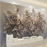 Mural Papel Tapiz 3D Estética Europea Relieve Tridimensional Flor 3D Mariposa Salón Sofá Fondo De Pantalla (W)300X(H)210Cm