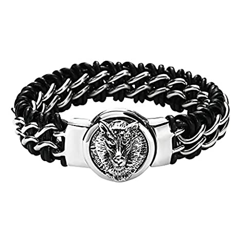 Daesar Stainless Steel Bracelet Mens Leather Black Heavy Silver Wolf Head Magnetic Bracelet