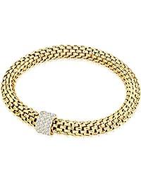 Rafaela Donata Damen-Gliederarmband Edelstahl gelbgold Glas weiß - Edelstahlarmband gold mit Steinchen Armband ohne Verschluss Armband elastisch