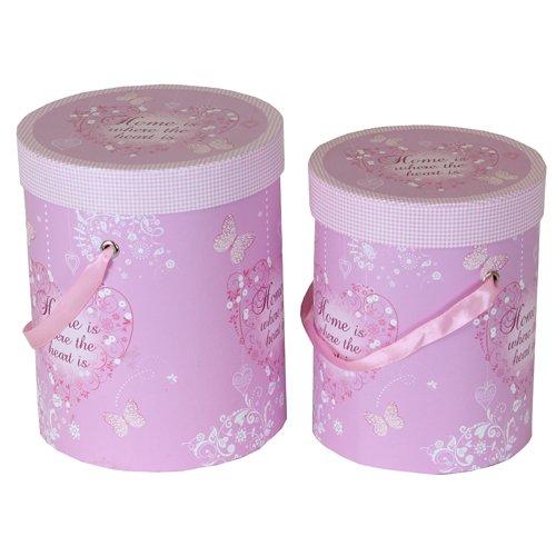 JVL Schmetterling und Herz Design Aufbewahrungsboxen rund, pink, 2Stück (Runde Aufbewahrungsboxen)
