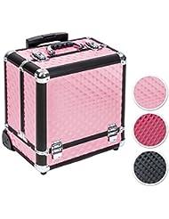TecTake Maleta aluminio para cosméticos Maletín para maquillaje joyería Trolley con Varias Divisiones con ruedas - disponible en diferentes colores - (Rosa)