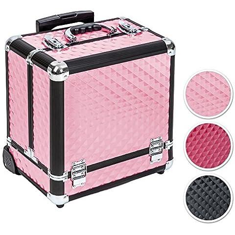 TecTake Maleta aluminio para cosméticos Maletín para maquillaje joyería Trolley con Varias Divisiones con ruedas - disponible en diferentes colores -