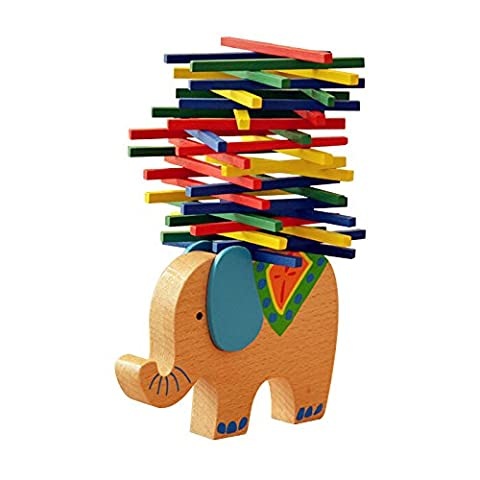 Magic-Elefant Montessori Stapel Spielzeug aus Holz zum Geschicklichkeit lernen mit Stäbchen Bunt / Natur ab 3 Jahre für die frühe Motorik Entwicklung & Ausbildung Ihres Kindes (Blau)