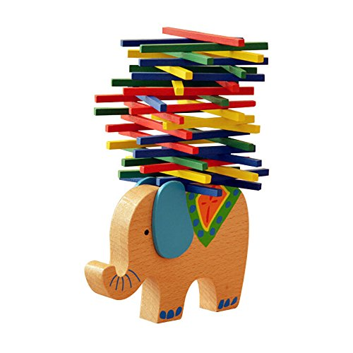 Juguete de madera Magic-Elefant Montessori, apilable, para aprender habilidad con varillas, multicolor,...