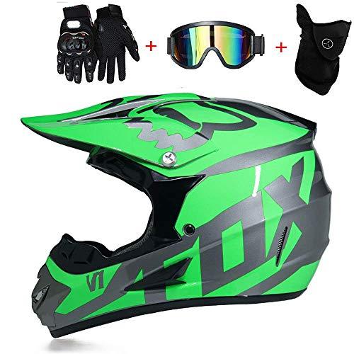 CHUDAN Frauen Off-Road Motorcycle Crosshelm mit Brille Handschuhe Maske, Motocross Full Gesicht Helm Herren DH Enduro Downhill Dirt Bikes ATV MTB BMX Quad Motorrad Offroad-Helm,Green,S