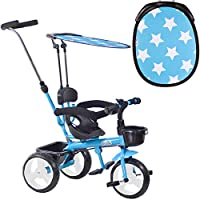 boppi 4 in 1 Tricycle Push Along Trike Stroller With Parent Steering Push Handle and Sun Shade For Baby and Toddler
